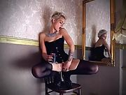 Stunning blonde babe Ferggy works her pussy and teases it with hot wax
