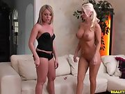 Busty blonde babes Trisha Uptown and Molly Cavalli undress while playing darts