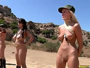 Busty and curvy hotties undress and have a drill at their bootcamp