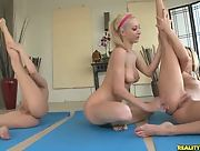 Kiara Diane tries nude yoga for the first time with Blue Angel and Sammie Rhodes