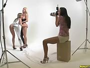 Photoshoot turns into a lesbian threesome with Blue Angel Celeste Star and Sammie Rhodes