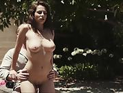 Dazzling busty brunette enjoys hot love making outdoor with her lover
