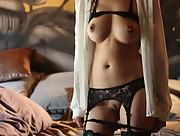 Asian beauty Eden Addams provocatively poses in sexy lingerie and bares her hot ass