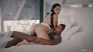 Watching this busty hottie gets her pussy filled with big black tool will make your day much better