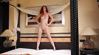 Mia Sollis takes a sensual bath while presenting her well shaped tits and meaty pink vag