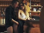 Brunette with small tits having sex with sexy barman