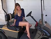 Alexis Crystal toying her wet shaved pussy on the golf cart