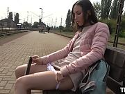 This sexy sex addicted brunette getting wild outside in public