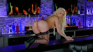 Elsa Jean marvelous horny blonde in sexy stockings fingers her sweet pussy on the bar