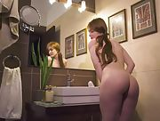 Ginger babe with small tits takes a bath than masturbates in the bathroom