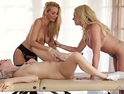 Amazing threeway pussy eating on the massage table by Cadence Lux Briana Banks and Sandy Fantasy