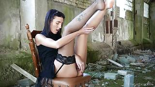 Dark haired vixen makes her pussy dripping wet as she strokes it with vibrator