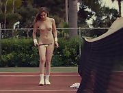 Super hot young brunette with well shaped body turns tennis into sensual naked posing