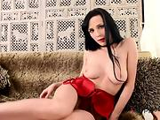 Kinky dark haired babe Nicole Love shows us her luscious ass and stuffs her meaty pussy
