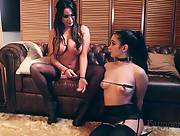 Busty dark haired babes Anissa Kate and Ginebra Bellucci play with the big toy