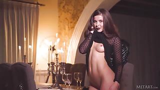 Beautiful Lika Dolce gently strips and teases her tight petite body
