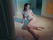 Sienna takes a shower with her white tshirt and panties on