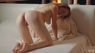 Sensual solo pussy play on the bed by seductive blonde Jillean