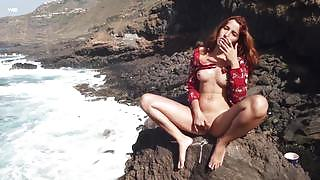 Sweet Agatha satisfies her masturbation urge while eating ice cream by the sea