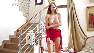 Top class brunette model in red dress gets naked and naughty after morning coffee