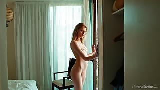 Irresistible sexy babe seductively poses naked in the morning