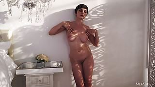 Short haired seductress Jay Marie takes off her sexy lingerie exposing her marvelous curves