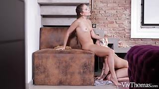 Lustful lesbian lovers having fun in front of the camera objective