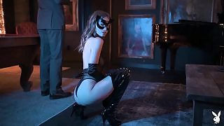 Foxy model Nastasia Celeste slowly baring her body out of a kinky outfit