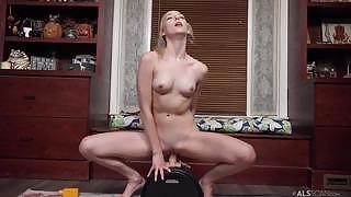 Sweet and charming gal enjoys masturbating in the living room