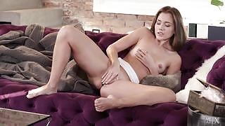 Amazing stunner Mary Rock rubbing her sweet vagina on the couch