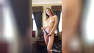 Jolie Webb playfully proudly presenting her delicious tits in a selfie clip