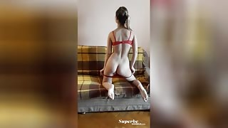 Daring and youthful sweetie enjoys spreading her lovely legs for the camera