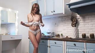 Sensual girl in high heels stuns everyone with her seductive body in the kitchen