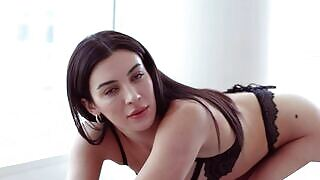 Marvelous babe Xris Kovtos sensually getting naked in front of the camera objective