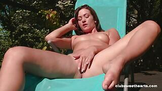Brunette damsel takes her clothes off as she rubbed her sweet pussy