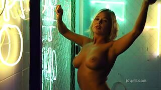 Playful Darina A displays her body with luscious breasts for the camera
