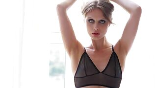 Natural beauty Amelie Lou flaunts her slim figure as she poses in her lingerie